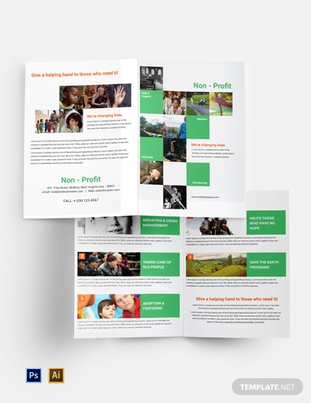 non profit bi fold brochure template