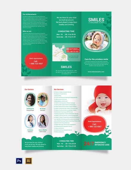 Free Children Clinic TriFold Brochure