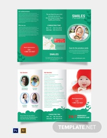 Free Children Clinic Tri-Fold Brochure Template