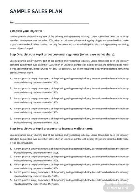 Free Sample Sales Plan Template