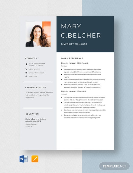 Diversity Manager Resume Template