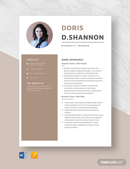 Diversity Trainer Resume Template