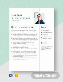 Dock Worker Resume Template