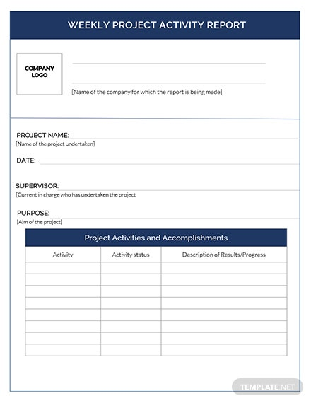 Weekly Project Activity Report Template