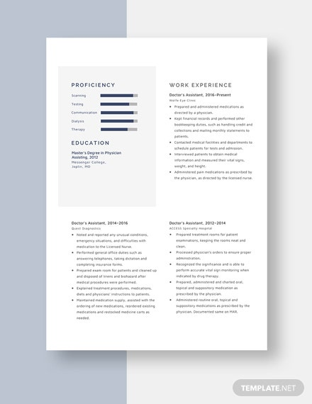 Doctors Assistant Resume Template