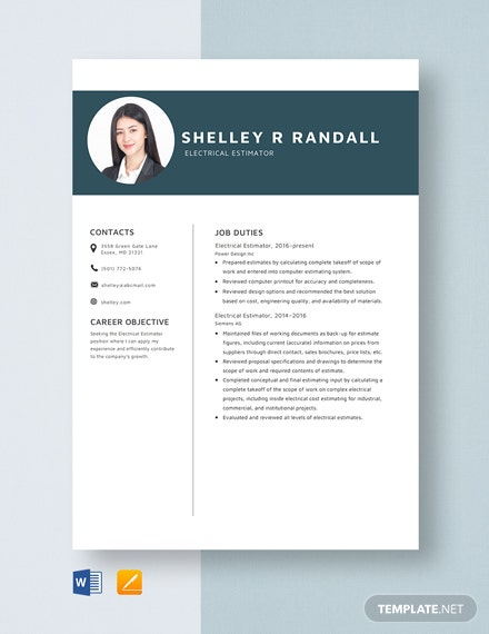 Electrical Estimator Resume Template