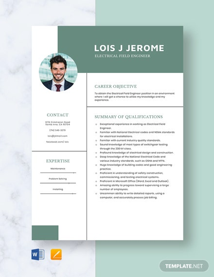 Electrical Field Engineer Resume Template