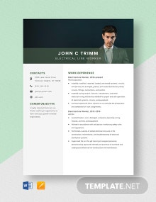 Electrical Line Worker Resume Template