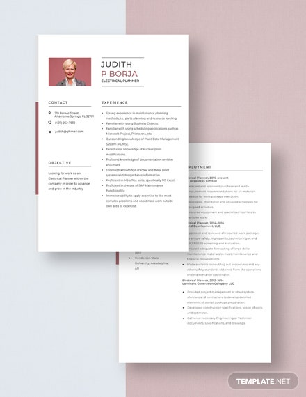 Electrical Planner Resume Download