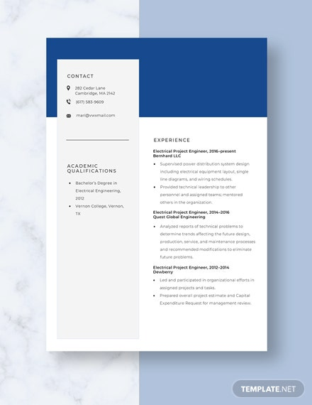 Electrical Project Engineer Resume Template