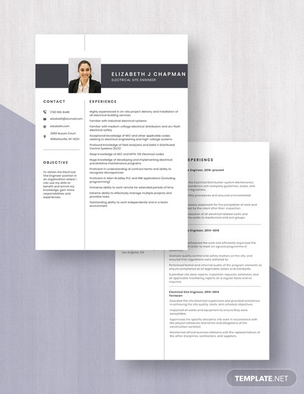 Electrical Site Engineer Resume Download
