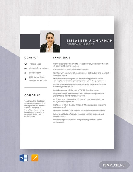 Electrical Site Engineer Resume Template
