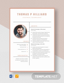 Electrical Technologist Resume Template