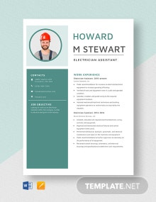 Electrician Assistant Resume Template