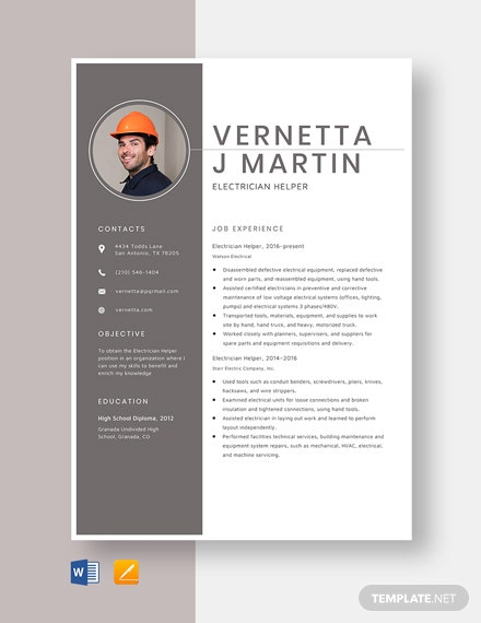 Electrician Helper Resume Template