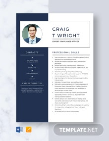 Export Compliance Officer Resume Template