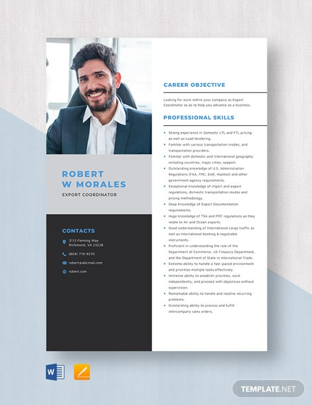Export Coordinator Resume Template