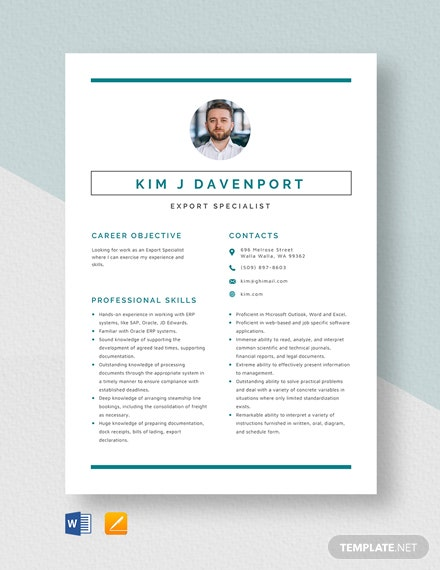 Export Specialist Resume Template