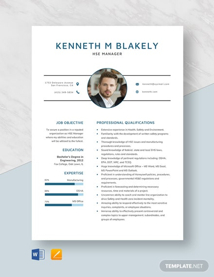 HSE Manager Resume Template