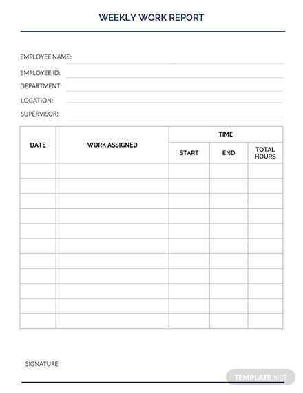Weekly Work Report Template