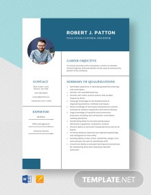 Pollution Control Engineer Resume Template