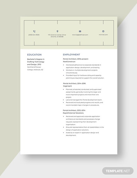 Portal Architect Resume Template