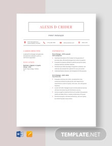 Print Manager Resume Template