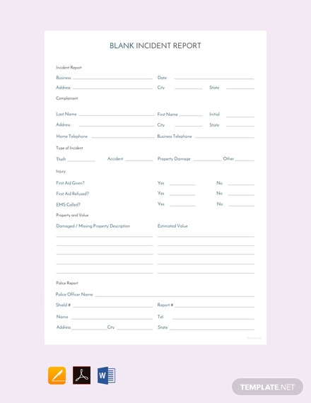 Free Blank Incident Report Template