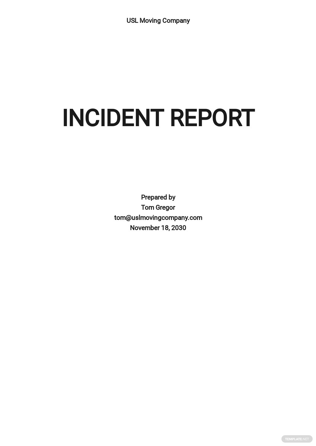 Simple Incident Report Template