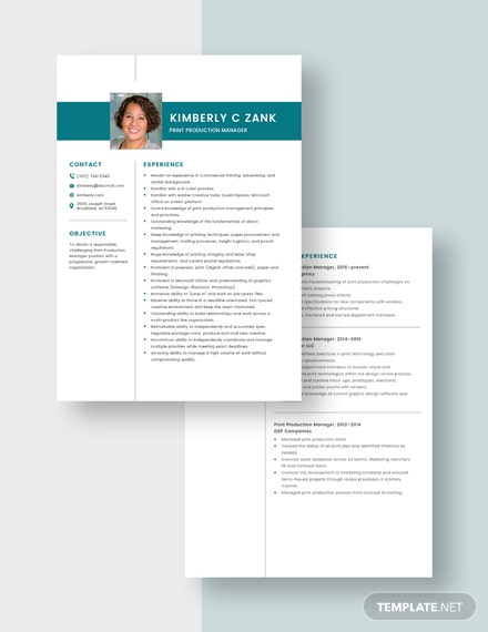 Print Production Manager Resume Download