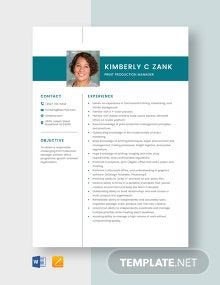 Print Production Manager Resume Template
