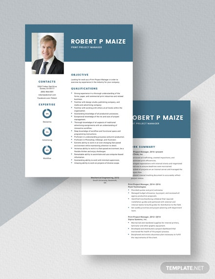 Print Project Manager Resume Download