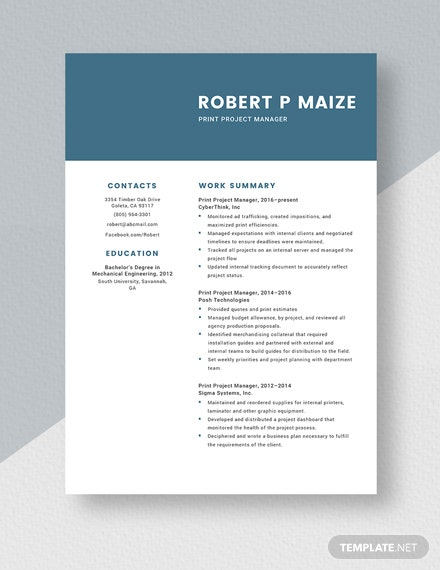 Print Project Manager Resume Template