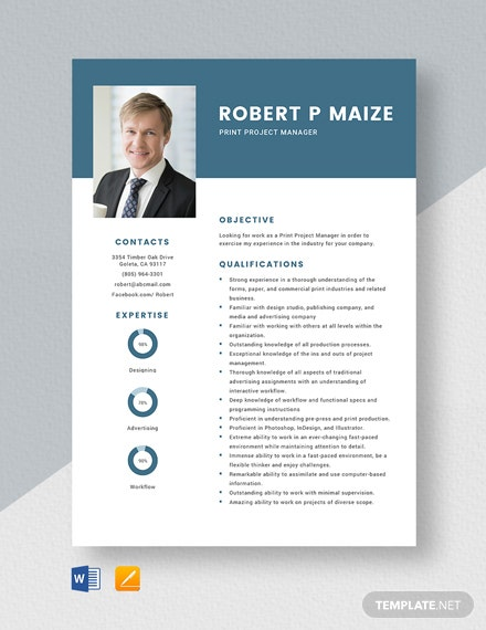 Print Project Manager Resume