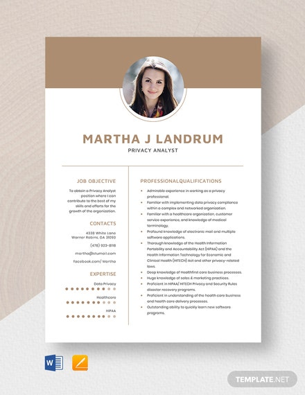 Privacy Analyst Resume Template