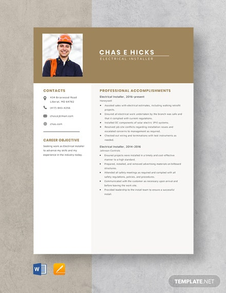 Electrical Installer Resume Template