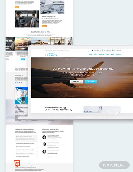 Airlines Aviation Services Bootstrap Landing Page Template