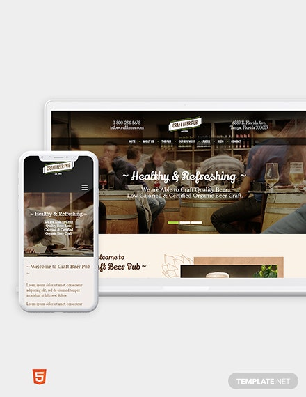 Beer Pub Bootstrap Landing Page Template