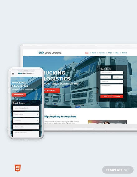 Trucking Logistics Bootstrap Landing Page Template