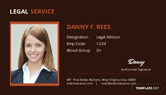 Legal Services ID Card Template