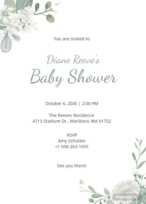 Rustic Floral Baby Shower Invitation Template