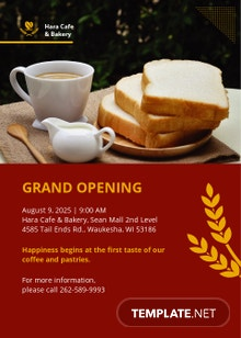Cafe And Bakery Grand Opening Invitation Template