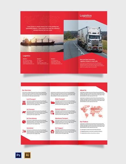 Free Logistics Services Tri-Fold Brochure Template