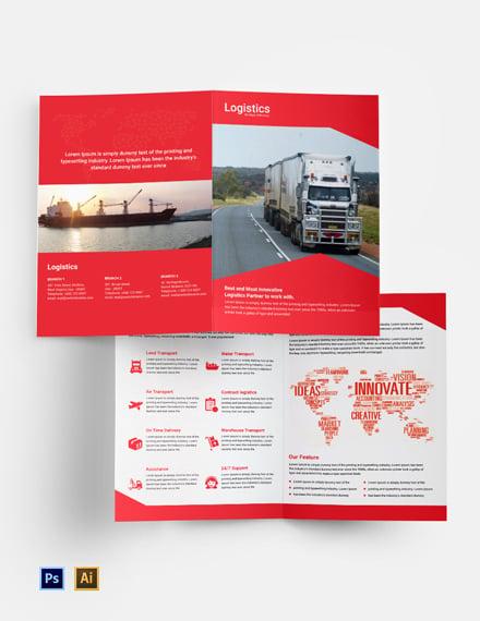 Free Logistics Services Bi-Fold Brochure Template