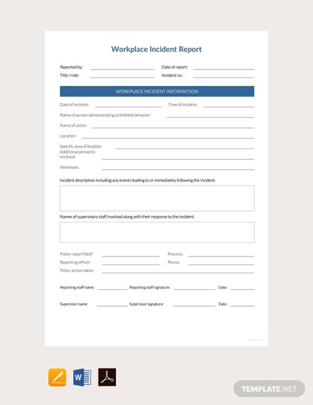 Free Workplace Incident Report Template Pdf Word
