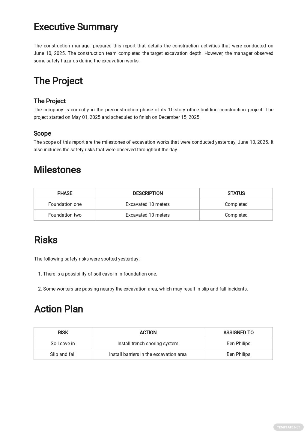 Free Daily Construction Activity Report Template 1.jpe
