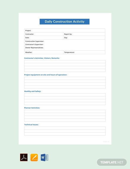 Free Daily Construction Activity Report Template
