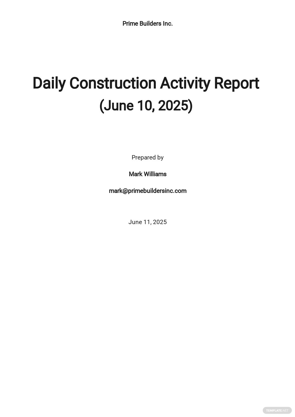 Daily Construction Activity Report Template