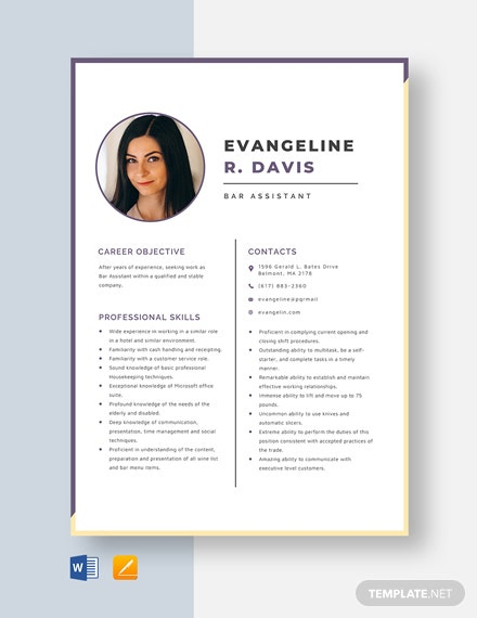 Bar Assistant Resume Template