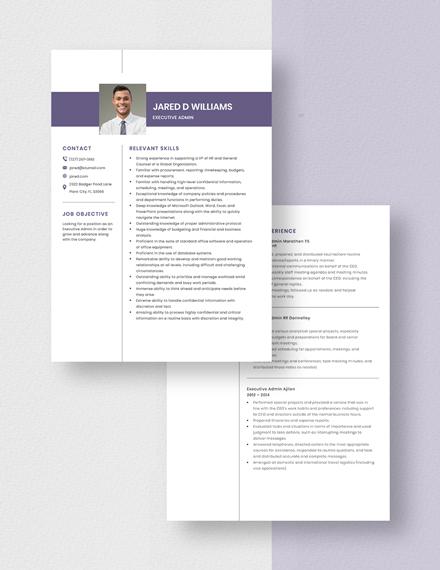 Executive Admin Resume Download